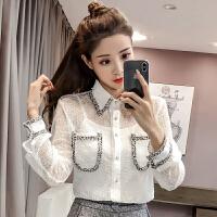 春装新款韩版小清新拼色polo领长袖蕾丝衫女+吊带两件套上衣