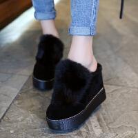 厚底增高毛毛鞋秋冬季厚底百搭内增高拖鞋坡跟松糕懒人女鞋超高跟毛毛包头拖 TBP 黑色 加绒