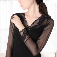 新款V领蕾丝塑身衣长袖性感薄款无缝收腹束身上衣紧身女肤色黑色