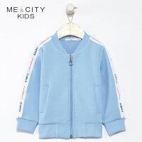【1件2折到手价:69.8】米喜迪mecity童装春新款男童字母织带棒球服休闲外套