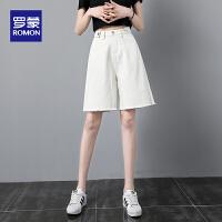 罗蒙女士夏季短款牛仔裤清凉透气纯色短裤
