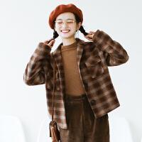 学院风短款格子毛呢外套女 复古翻领呢大衣 冬新 复古格纹