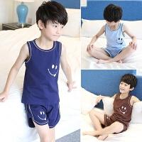 儿童睡衣男童家居服夏季中大童薄款空调服小男孩背心套装