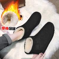 网红雪地靴女冬季新款韩版加绒保暖平底短筒靴懒人一脚蹬棉鞋
