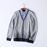 346 男装 春季新款菱形图案衬衫领假两件长袖男式针织衫