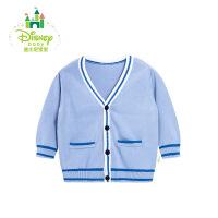 【专区3件7折 到手价:69.3元】迪士尼Disney 男童毛衣英伦男宝宝V领针织衫学院风冬季款164S840