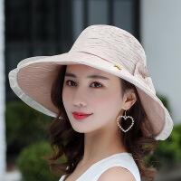 遮阳帽女户外防紫外线防晒帽夏天出游大檐太阳帽可折叠布帽沙滩帽 均码