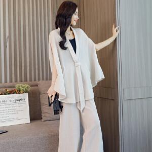 欧洲站九分阔腿裤套装女2018夏季新款时髦洋气宽松小个子两件套装