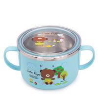 小学生饭碗汤碗密封宝宝饭盒便当盒儿童餐具不锈钢套装