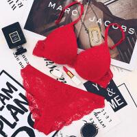 蕾丝无痕内衣女士聚拢调整型小胸文胸套装本命年红色