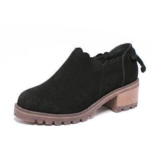 如熙2017秋季新款单鞋中跟粗跟短靴女鞋圆头靴子反绒皮休闲