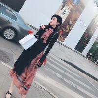 2019春季新款两件套套装蝴蝶结针织名媛小香风碎花连衣裙女春长裙 黑色