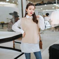 针织马甲+翻领衬衫两件套韩版侧系带马夹长袖衬衣2018春季套装 米色 均码