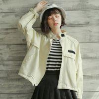 春秋新款复古棉质工装外套女B立领短款蝙蝠袖休闲棒球服显瘦上衣 杏色