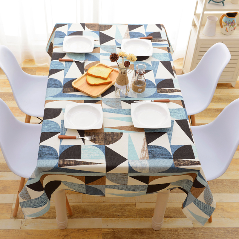 北欧几何深色复古圆形餐桌布布艺小方台布小圆桌布茶几布办公桌布