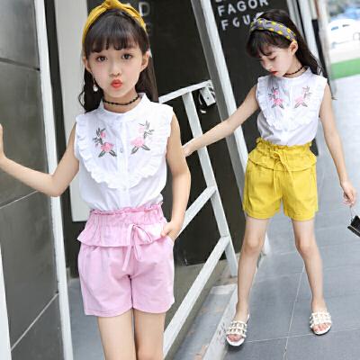 女童套装夏装儿童两件套短夏款小女孩无袖时髦中大童洋气潮