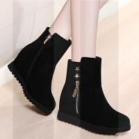 秋冬季新款女鞋短靴低跟�仍龈唏R丁靴平底厚底�q面中筒靴雪地女靴SN2526
