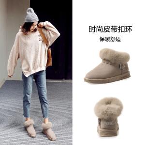 ZHR雪地靴女平底加绒小短靴真皮棉鞋百搭潮毛毛鞋子女2018冬季新款