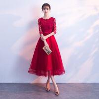 东材敬酒服新娘春季2018新款韩版小个子高腰孕妇红色中长款结婚晚礼服