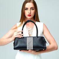 1新款女包欧美时尚风头层牛皮单肩手提包真皮女士包 黑白条纹