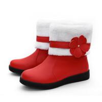 韩版2018秋冬季毛靴女童短靴中大童靴子小女孩公主鞋花朵保暖棉靴真皮