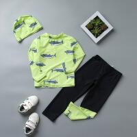 儿童分体泳衣男童长袖长裤保暖小童防晒宝宝游泳衣冲浪潜水服 HX-17105长裤绿鲨鱼