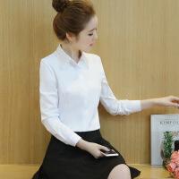 57562018春新款韩版打底衫欧根纱刺绣长袖内搭衬衣女 白色