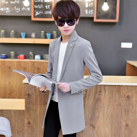 秋季新款西服男中长款韩版修身青年西装外套男帅气学生休闲小西装 165  M