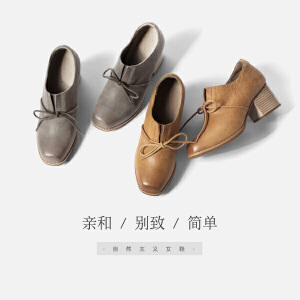 青婉田新款复古方头中高跟单鞋女粗跟个性系带舒适真皮鞋