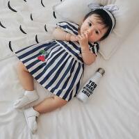 婴儿衣服夏季新生儿裙子樱桃条纹短袖连衣裙女宝宝外出公主裙