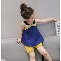 韩版童装夏季女童背心吊带上衣+短裤两件套装2-7岁B9-A58