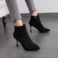 短靴女鞋子尖头马丁靴高跟2018春秋款冬季新款细跟韩版百搭女靴子 TBP 黑色 8.5厘米