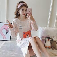 睡裙女春秋季长袖韩版学生可爱卡通女士秋天可外穿家居服睡衣