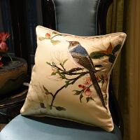 中式古典水墨花鸟刺绣抱枕套绸面绣花靠背沙发靠垫含芯