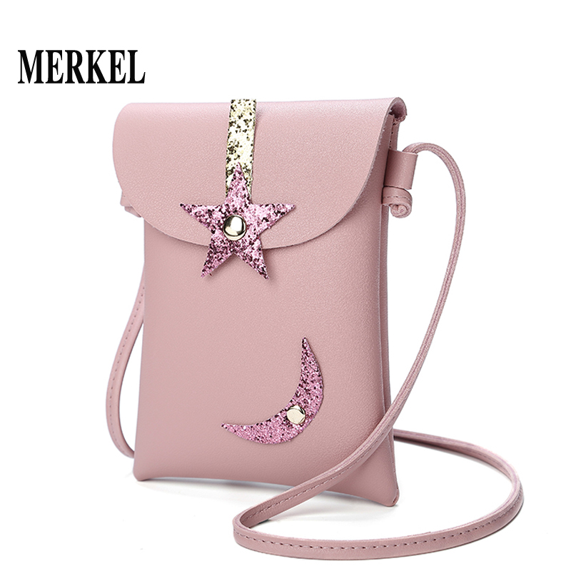 新款时尚星星月亮装饰女包迷你小包单肩斜跨小包手机包零钱包