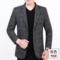 薄款男士休闲西装外套中年韩版爸爸西服上衣单件2018春秋商务xx