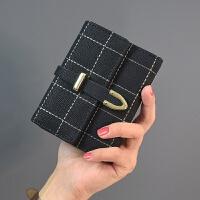 短款女士钱包可爱日韩版简约零钱包大钞夹搭扣小钱包2017学生新款