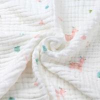 新生婴儿浴巾纯棉超柔软吸水初生婴幼儿童纱布被子宝宝洗澡大毛巾 6层 110*110 粉色小鹿