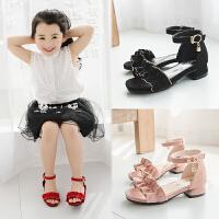 女童鞋子凉鞋夏季潮小公主高跟露趾中大童学生沙滩鞋