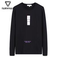 马克华菲2018秋季新款长袖T恤男潮流韩版黑色圆领套头休闲上衣潮