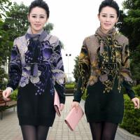 新款中年女装毛衣妈妈装中长款中老年羊毛衫加厚打底连衣裙