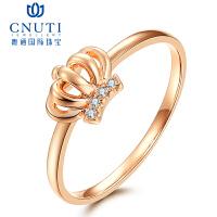 CNUTI粤通国际珠宝 皇冠 18K金镶嵌钻石戒指 钻石女戒