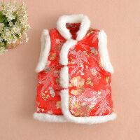儿童唐装冬马甲婴儿红马甲童装满月儿童礼服兔毛领拜年服背心加厚 凤戏牡丹 红