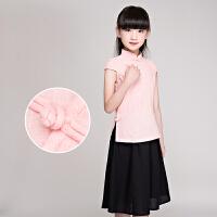 儿童古装民国学生装女 女童旗袍裙粉色小孩复古服装民族风童装5879 粉红色