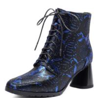 大码女靴2018秋冬新款真皮女鞋马丁靴英伦高跟鞋短靴女粗跟深蓝色 蓝色
