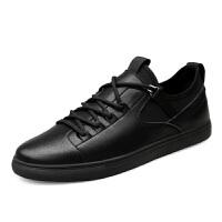 特大号男鞋45秋季男士低帮潮鞋46黑色真皮板鞋大码47英伦休闲皮鞋 黑色
