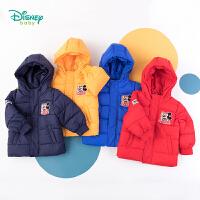 【2件3折到手价:99.6】迪士尼Disney童装 男童连帽夹棉外套冬季新品mickey印花保暖棉服儿童中长款上衣19