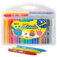 AMOS 24色旋转可水洗丝滑(蜡笔/粉彩/水彩三合一)韩国进口细杆CST24儿童绘画工具幼儿园儿童涂色涂鸦笔 当当自