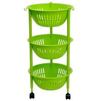 家用塑料置物架三层收纳杂物厨房水果蔬菜储物篮移动c