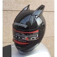 摩托车头盔男全覆式女士越野跑盔赛盔机车带犄角个性酷猫耳朵头盔